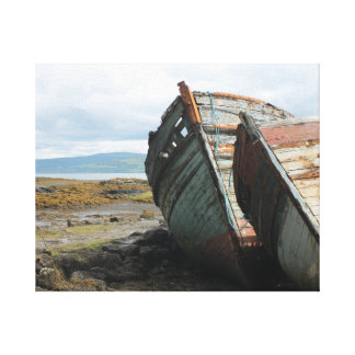 Old boats on a beach on Mull, in Scotland Gallery Wrap Canvas