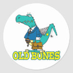 old bones funny dino dinosaur toon round stickers