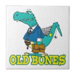 old bones funny dino dinosaur toon tile