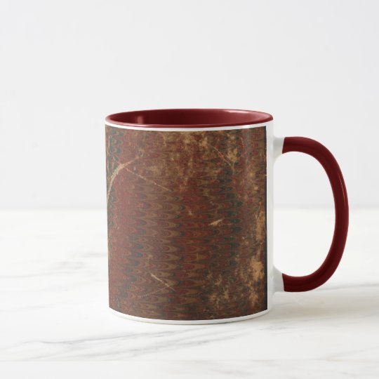 Old book cover, brown leather book cover, worn mug