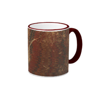 Old book cover, brown leather book cover, worn ringer coffee mug
