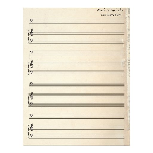 Old Book Page Blank Sheet Music Bass Clef Custom Letterhead