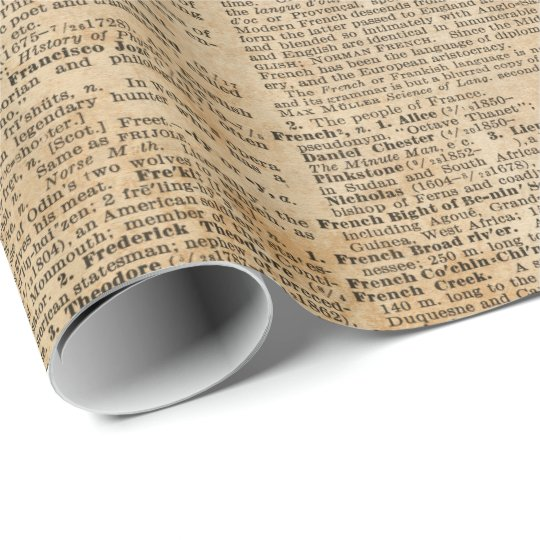 Vintage Book Cover Wrapping Paper : Old book page vintage design glossy wrapping paper
