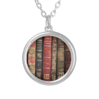 Old Book Silver Plated Necklace