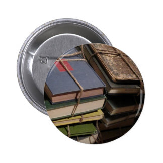 Old book stack 2 inch round button