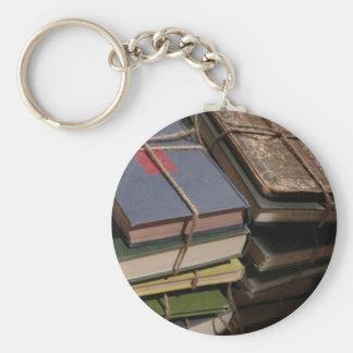 Old book stack basic round button keychain