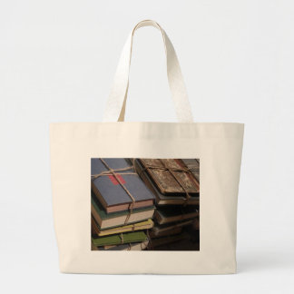 Old book stack canvas bag