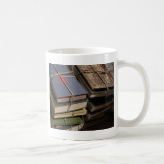 Old book stack classic white coffee mug