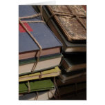 Old book stack greeting card