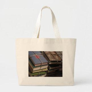 Old book stack jumbo tote bag