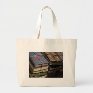 Old book stack large tote bag