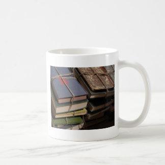 Old book stack mug