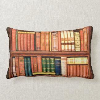 Old Books Antique Library Bookshelf Lumbar Pillow