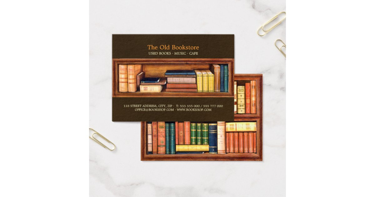 Old Books Bookstore Library business card | Zazzle.com