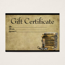 Old Books & Candle- Prim Gift Certificate Cards