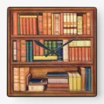 Old Books Library Bookshelf Wall Clock
