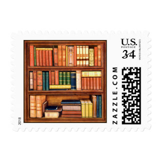 Old Books Library Bookworm stamps