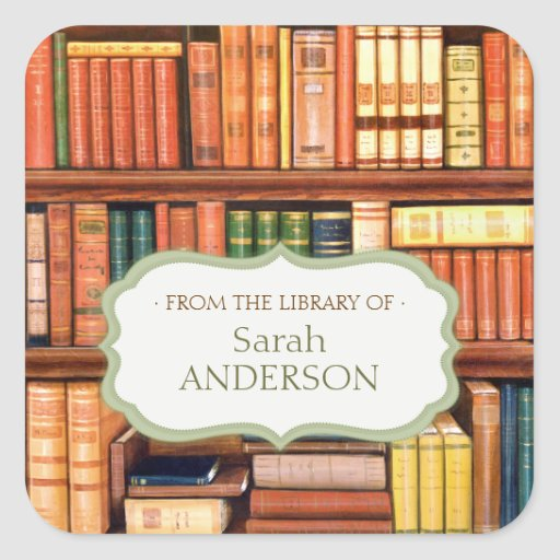 Old Books Library Personalized Bookplate Stickers