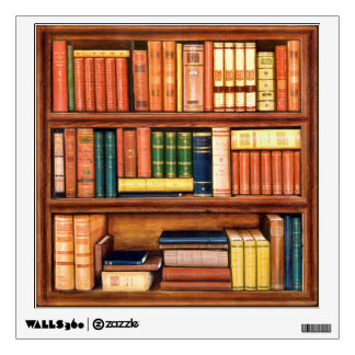 Old Books Vintage Bookshelf Wall Decal