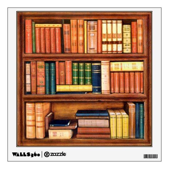 Old Books Vintage Bookshelf Wall Decal Zazzle Com