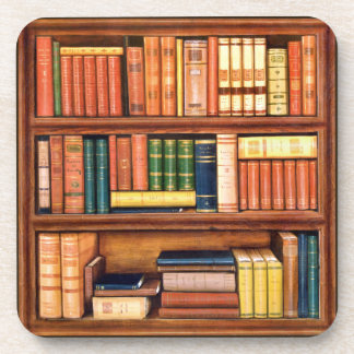 Old Books Vintage Library Bookshelf Coasters