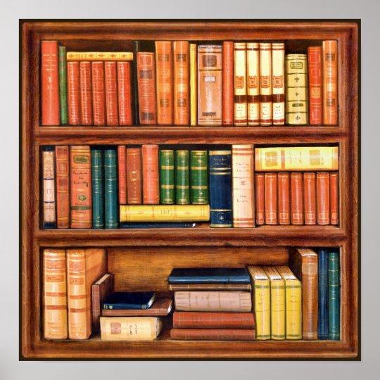 Old Books Vintage Library Bookshelf Poster Zazzle Com