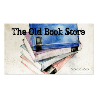 Old Books Watercolor, Used Book Covers Colorful Business Card