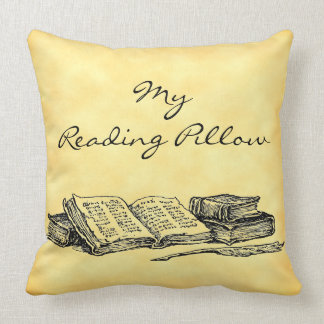 Old Books, Writing Quill on Grunge Custom Pillow