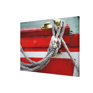 Old Bow Ropes On Brass Cleat On Canal Boat Canvas Print