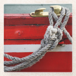 Old Bow Ropes On Brass Cleat On Canal Boat Glass Coaster