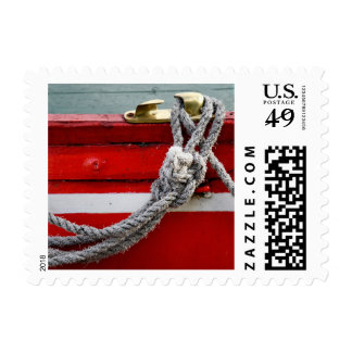 Old Bow Ropes On Brass Cleat On Canal Boat Postage