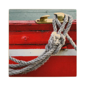 Old Bow Ropes On Brass Cleat On Canal Boat Wooden Coaster