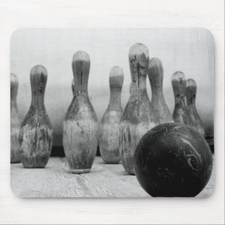 Old bowling pins and ball. mouse pad