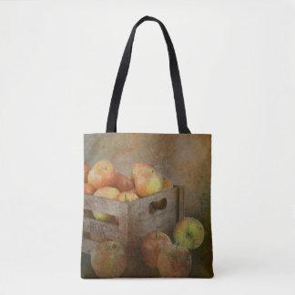 old box crate of apples postcard tote bag