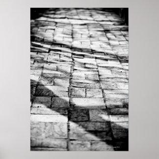 Old brick pathway poster