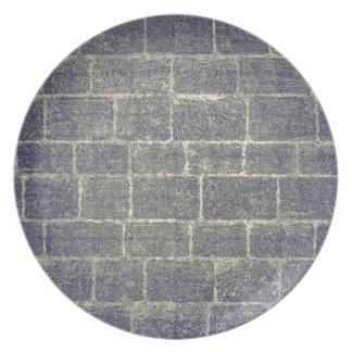 Old Brick Stone Design. Nonsymmetric Stone Wall Party Plate