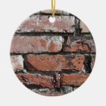 Old brick wall background Double-Sided ceramic round christmas ornament
