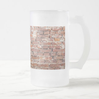 Old Brick Wall Frosted Glass Beer Mug