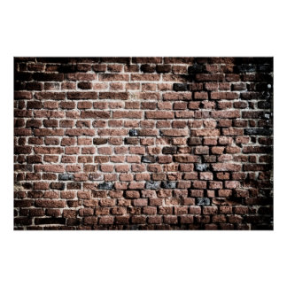 Old brick wall grunge background poster
