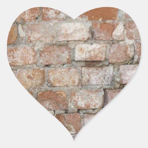 Old Brick Wall Heart Sticker