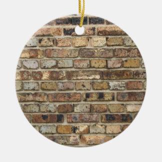 Old brick wall texture round ceramic ornament