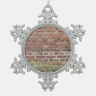 Old brick wall texture pewter snowflake ornament
