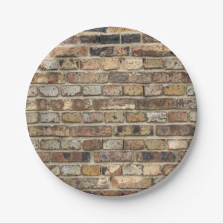 Old brick wall texture paper plate