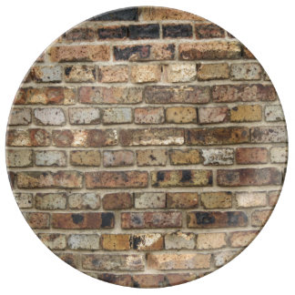 Old brick wall texture porcelain plate
