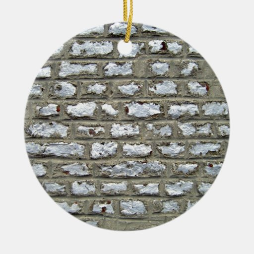 Old Brick Wall With White Bricks Christmas Ornaments