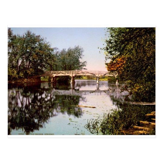 Old Bridge on River Concord, Mass. USA c1900. Postcard