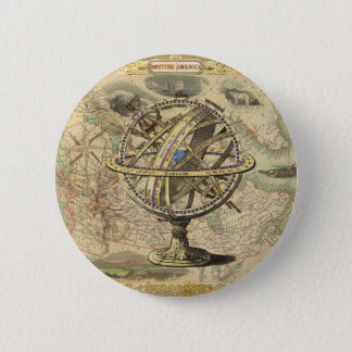 Old British America Explore Polar Bear Compass Map Button