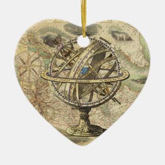 Old British America Explore Polar Bear Compass Map Ceramic Ornament