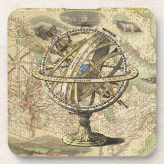 Old British America Explore Polar Bear Compass Map Drink Coaster