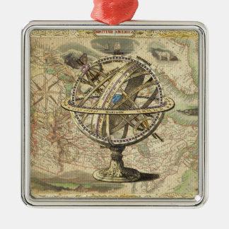 Old British America Explore Polar Bear Compass Map Metal Ornament